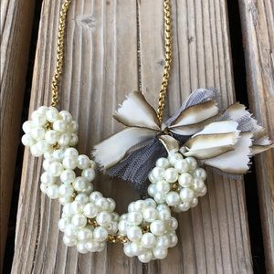 Lenora Dame Chunky Pearl Clusters Bow Necklace